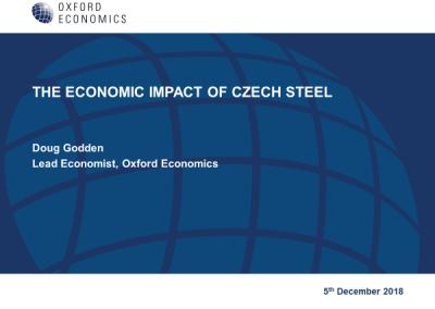 Analytické skupina Oxford Economics představila svou analýzu přínosu výroby oceli pro českou ekonomiku